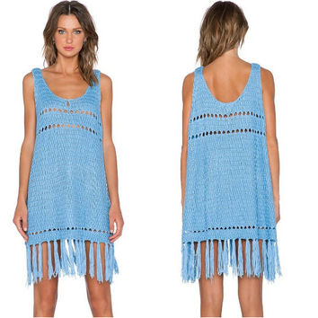 Blue Knit Cutout Beach Dress with Tassels