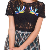 Love Birds Crop Top - Black Lace