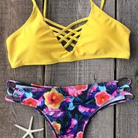 Yellow Bra Flower Floral Bikini Set