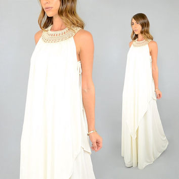 70's JOSEPH MAGNIN Grecian Maxi Dress