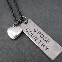 LOVE Cross Country Necklace on Gunmetal chain - Cross Country Running - Cross Country Team - CC - XC - Cross Country Mom - Cross Country Fan