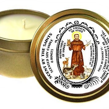 Saint Francis of Assisi Patron of Animals 6 Oz Scented Soy Gold Tin Candle