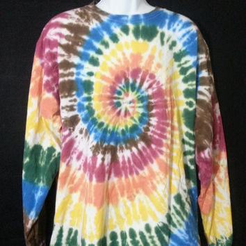 Hand Dyed Multi Spiral Tie Dye Shirt | Hanes Beefy-T 6.1oz Shirt Adult Adult (SHORT or LONG SLEEVE)