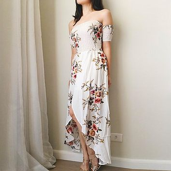 Dress Summer 2018  Female Strapless Dress Ladies Chiffon Printed Furcal Beach Dress Maxi Long