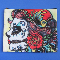 Day of the Dead Skull Girl Makeup Bag