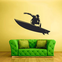 Wall Vinyl Sticker Decals Decor Art Bedroom Design Mural Surfer Surf Board Ocean Water Wave Sport Beach (z2356)