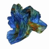 OOAK Silk scarf ruffled Hand Dyed Royal-blue  Dark-blue Green Sea-green Orange Yellow New design