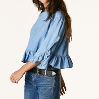 Worth The Ruffle Chambray Top