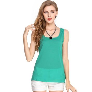 Hot Sale New Summer Women Tank Tops Solid Chiffon Tank Tops Camis Female Sexy Casual Tops