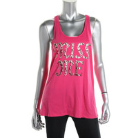 Miss Me Womens Cotton Embellished Tank Top