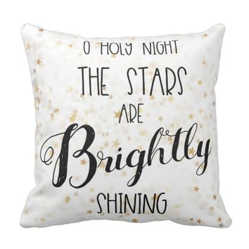 O Holy Night Typography Throw Pillow