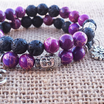 Yoga Women Bracelet Purple Jasper Black Lava Tree Of Life Buddha Om Charm Meditating Bracelet Stack Yoga Gifts Spiritual Jewelry Mom's Gifts
