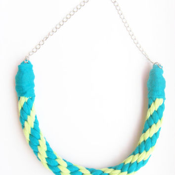 Tshirt Yarn Necklace, Kumihimo Necklace, Cotton Necklace, Jersey Cotton Necklace, Fiber Necklace, Turquoise Necklace, Green Necklace.