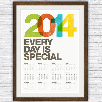 2014 calendar print poster, Mid century modern, Helvetica, retro typography, letterpress, vintage, Office decor - A3