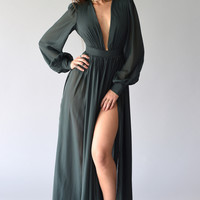 Plunging Neck Slid Maxi Dress - Green
