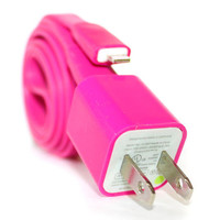 Hot Pink iPhone 5/5s/5c Charger - 1m/3ft iPhone 5/5s/5c Cable and Plug