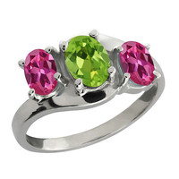 2 Carat Peridot and Pink Sapphire Oval Ring .925 Sterling Silver Rhodium Finish