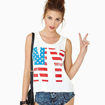 White New York Stars and Stripes Print  Tank Top