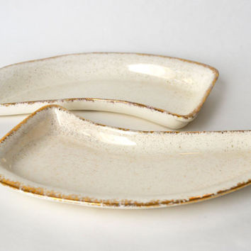 1950s Mid Century California Pottery White and Gold Curved Serving Dishes