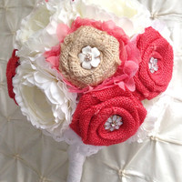 "In Stock Burlap 10"" Bridal Brooch Bouquet Coral White Ivory Burlap Colors Can Be Customized Lace Silk Ranunculus Rose Rustic Country Vintage"