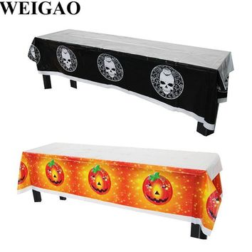 WEIGAO 180x108cm Pumpkins Skull Halloween Party Tablecloth For DIY Halloween Party Table Decoration Kids Table Cloth Tablecover