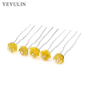 DCCKU62 10pcs Resin Yellow Flower Wedding Bridal Hair Clip Hairpins Inlay Crystal Women Hair Pin Chic Jewelry Party Accessories