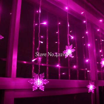 3.5M 100SMD 16P Snowflake LED Curtain String Lights Lamp New Year Garden Christmas Wedding Party Ceiling Decoration 110V/220V