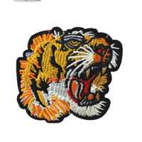 Tiger Iron / Sew On Embroidered Patch Badge roaring Feline Embroidery Cat Motif | eBay