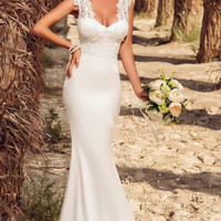 White Lace Embroidered Mermaid Evening Dress