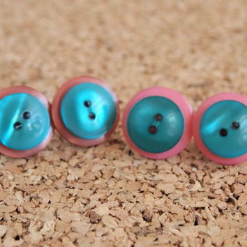 Cute Button Studs - green pink brown upcycled earrings repurposed stacked button posts reuse FREE Shipping to United States