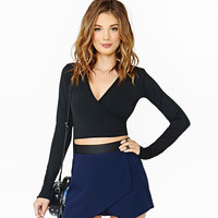 Black V-Neck Wrap Long Sleeve Crop Top