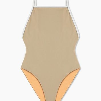 Margot High Cut One Piece Swimsuit - Taupe/White