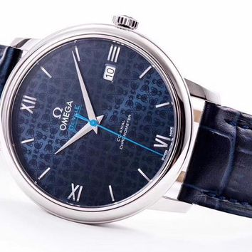 PEAP O028 Omega De Ville Chronometer CO-AXIAL Leather Strap Watches Blue