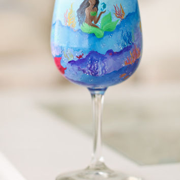 Mermaid Wine Glass: Hand Painted Underwater Scene Featuring Three Mermaids