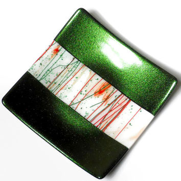 Fused Glass Christmas Platter, Red White Green, 9 Inch Square
