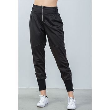 Women's casual ankle lenght black zipper high waisted jogger pants