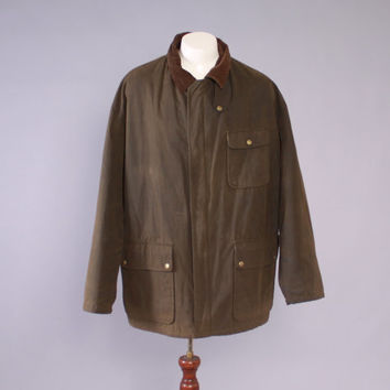 Vintage Hunting JACKET / 1990s Polo RALPH LAUREN Waxed Cotton Hunting Jacket Men's Coat xl