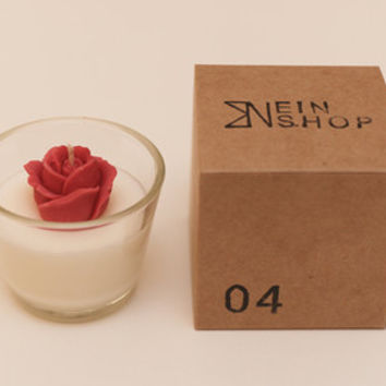 003. Rose Candle, glass candle, scented soy candle, home decor, wedding, gift idea- EINSHOP