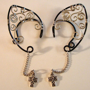 Pair of Gothic Inspired Elf Ear Cuffs with silver plated Cross Crucifix Charms