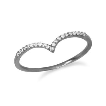 "Ruthenium Plated Cubic Zirconia ""V"" Ring"