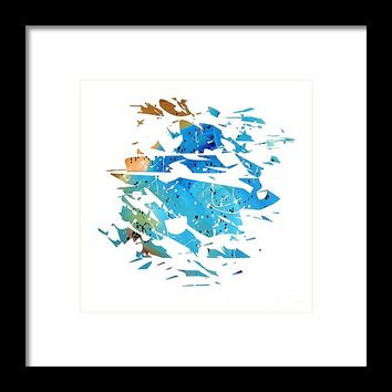Abstract Acrylic Painting Broken Glass Blue And Brown Framed Print