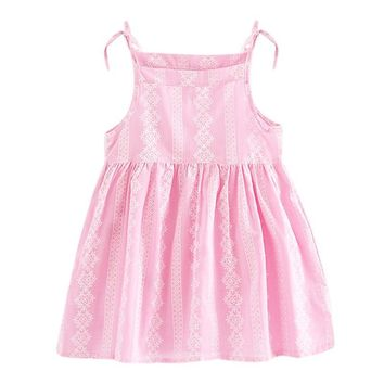 Children Princess Dresses Baby Girls A-Line  Dress Sleeveless Kids Clothes Lace Print Strap Girl Sundress Summer Linen Clothing