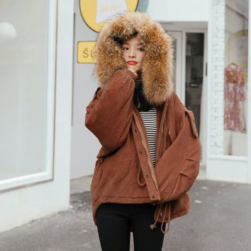 New 2017 Winter Corduroy Jacket Women Real Large Raccoon Fur Collar Thick Casual Long Coat Outwear Parkas Caramel Yellow Color