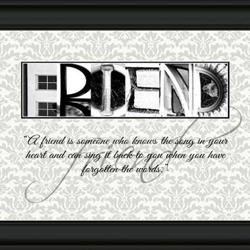 Alphabet Photo Art, Gift for Best Friends, Friendship Gift, Friendship Quote, Friendship Quotes, Best Friend Gift , Alphabet Letter Art