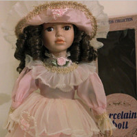 "Agatha, Brunette Porcelain Doll, 16"" Vintage Limited Edition Victorian Danea Princess Collection, Pink Dress with Stand"