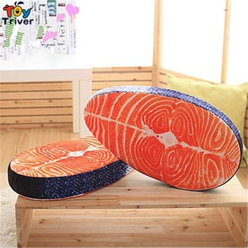 50*27*7cm Simulated 3D Sushi Salmon Plush Toy Cushion Pillow Mat Stuffed Toys Funny Birthday Gift Home Shop Restaurant Decor