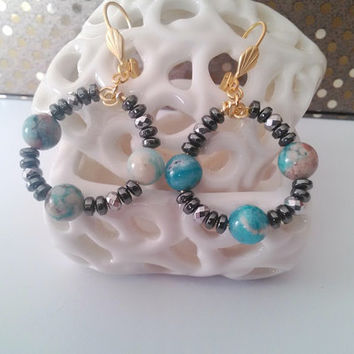 Beaded Hoop Earrings with Hemimorphite and Hematite. Earring findings 24k gold plated