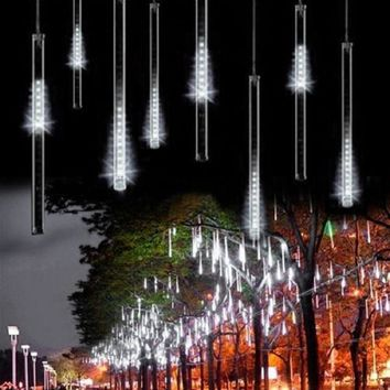 Energy Saving 30cm 8 Tube Meteor Shower Rain Tube Snowfall LED Light For Christmas Valentine Holiday Tree Garden Decoration
