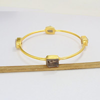 Handmade Bangle - Rose Quartz Bangle - Gold Vermeil Bangle - Smoky Quartz Bangle - Raw Stone Bangle - Stackable Bangle - Women Bangles