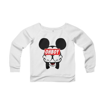 Mickey Mouse OHBOY Women's Off-Shoulder Wide Neck Sweatshirt